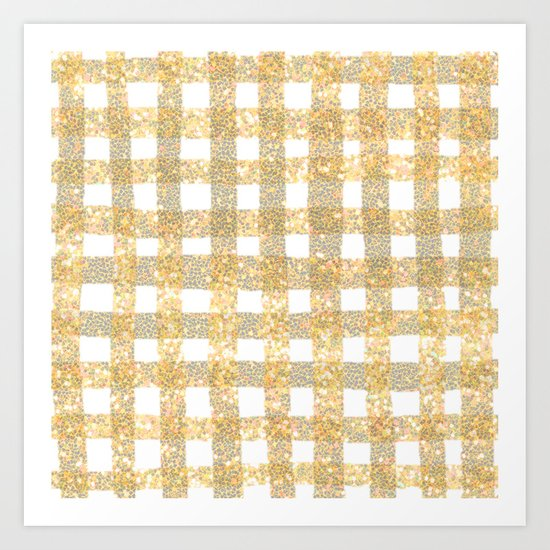 Gingham Sparkle Gold Art Print