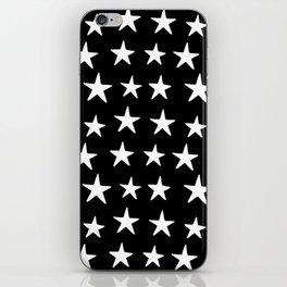 Star Pattern White On Black iPhone Skin