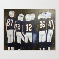 patriots Canvas Prints featuring Patriots Football by Pink Petals Paintings