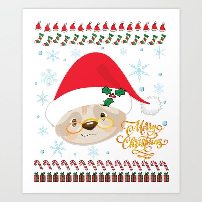 Christmas Sloth.Cute Ugly Merry Christmas Holiday Santa Sloth Design Art Print By Tronictees