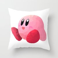 kirby Throw Pillows featuring Kirby by Sharna Myers