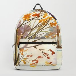 Late Autumn. First Snow. Rural Landsape. Birches Backpack