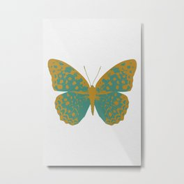 Teal Butterfly Metal Print