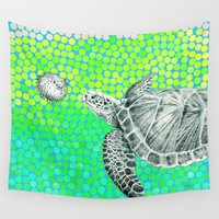 eric fan Wall Tapestries featuring New Friends 1 by Eric Fan and Garima Dhawan by Eric Fan