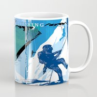climbing Mugs featuring Ice Climbing by Robin Curtiss
