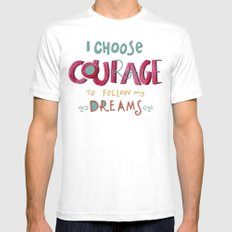 I Choose Courage white MEDIUM White Mens Fitted Tee