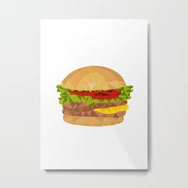 Hamburger Low Polygon Metal Print