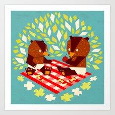 picknick bears Art Print