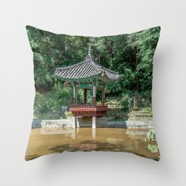The aeryeonjeong in the Aeryeonji Pond of the secret garden_Changdeokgung Palace Throw Pillow