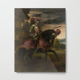 Titian - Equestrian Portrait of Charles V Metal Print