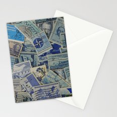 Vintage Postage Stamp Collection - Blue Stationery Cards