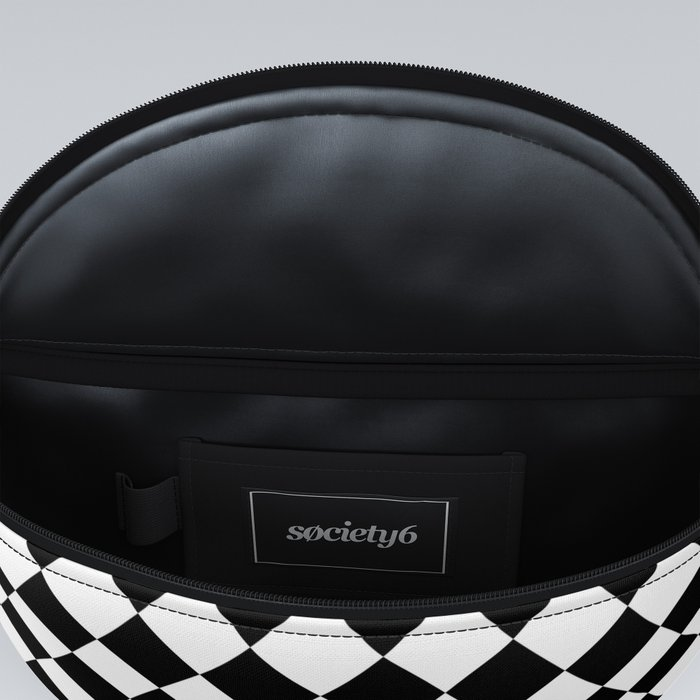 Classic Black and White Harlequin Diamond Check Fanny Pack
