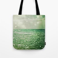 contemporary Tote Bags featuring Sea of Happiness by Olivia Joy StClaire