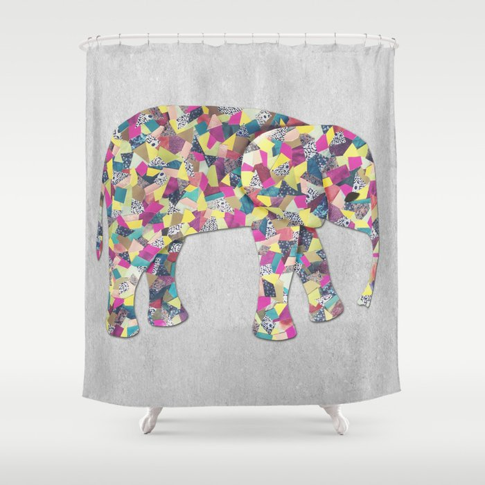 Elephant Collage In Gray Hot Pink Teal And Yellow Shower Curtain