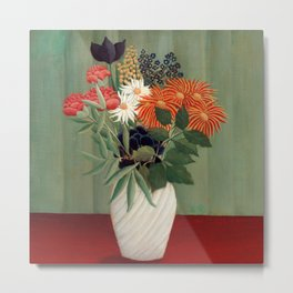 Henri Rousseau - Bouquet of Flowers with China Asters and Tokyos Metal Print