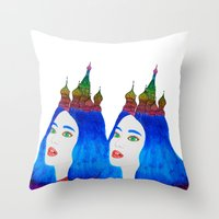 russia Throw Pillows featuring Russia by Luna Portnoi