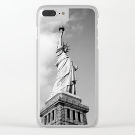 Black and white Statue of Liberty - Liberty Island, New York Clear iPhone Case