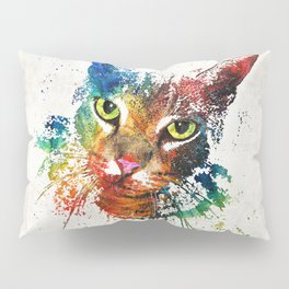 Colorful Cat Art by Sharon Cummings Pillow Sham