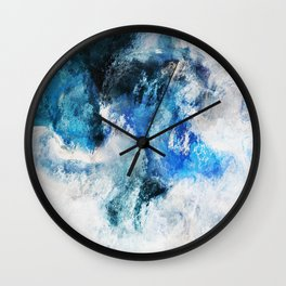 Waves Abstract Painting - Minimalist Seascape Painting Wall Clock
