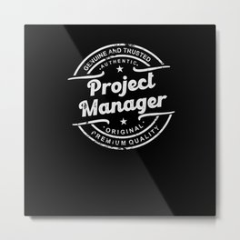 Best Project Manager retro vintage distressed logo Metal Print