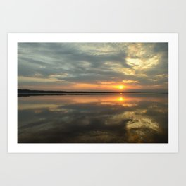 Reflection sunset in the water Art Print