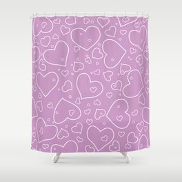 Lavender and White Hand Drawn Hearts Pattern Shower Curtain