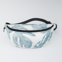 Gorgeous Blue Tropical Leaves + Flowers Fanny Pack