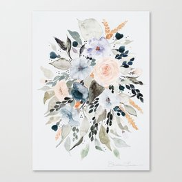 Loose Blue and Peach Floral Watercolor Bouquet  Canvas Print