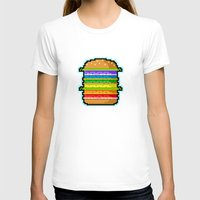 hamburger T-shirts featuring Pixel Hamburger by Sombras Blancas Art & Design