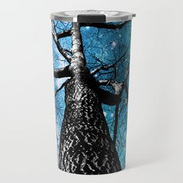 Wintry Trees Galaxy Skies Teal Blue Violet Travel Mug