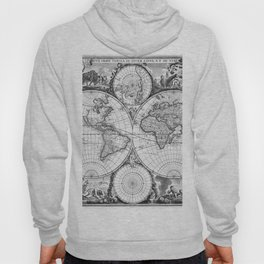 Black and White World Map (1670) Hoody