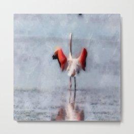 The Pink Flamingo in Watercolor Metal Print