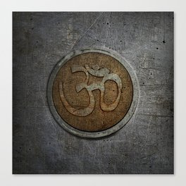 The sound of the Universe. Gold Ohm Sign On Stone Canvas Print