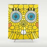 spongebob Shower Curtains featuring Spongebob Voronoi by Enrique Valles