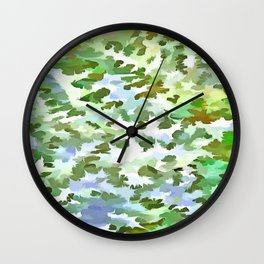 Foliage Abstract Pop Art In White Green and Powder Blue Wall Clock