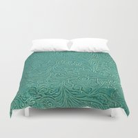 leather Duvet Covers featuring teal leather by Sylvia Cook Photography
