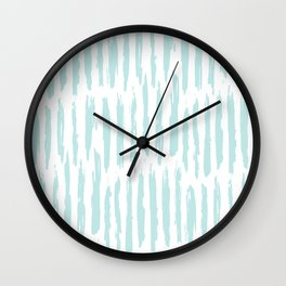Vertical Dash Stripes Succulent Blue and White Wall Clock