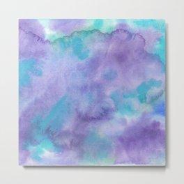 Violet Purple Teal Green Abstract Watercolor Metal Print