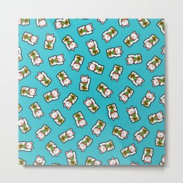 Lucky Cat Pattern Metal Print