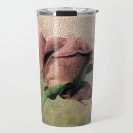 Painterly Pink Rose Bud Travel Mug