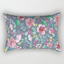 Pink Flowers on Gray Rectangular Pillow