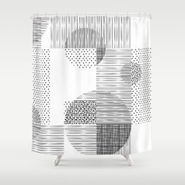 Black and White Layered Pattern Shower Curtain