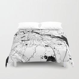 Amsterdam White on Black Street Map Duvet Cover