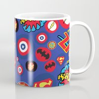 super hero Mugs featuring Movie Super Hero logos by Nick's Emporium