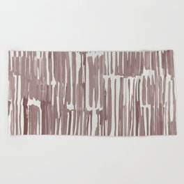 Simply Bamboo Brushstroke Red Earth on Lunar Gray Beach Towel