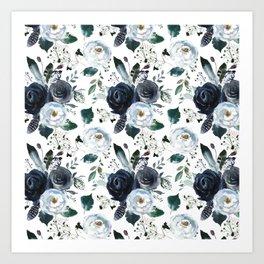 Watercolor navy blue elegant white bohemian floral Art Print