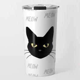 Meow all night long black and white cat Travel Mug