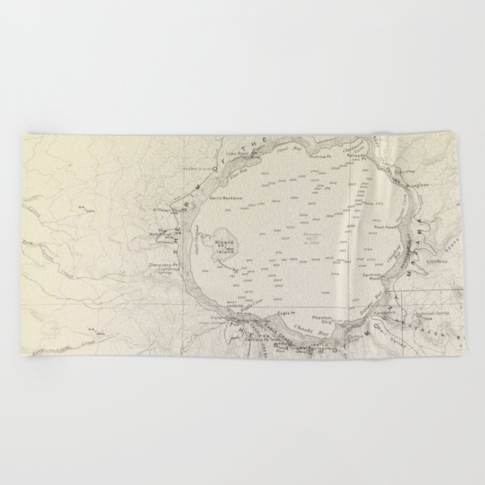 Crater Lake Vintage Map Beach Towel