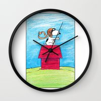 pilot Wall Clocks featuring pilot Snoopy by DROIDMONKEY