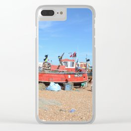 Fishing Boats On The Beach - Hastings, England Clear iPhone Case